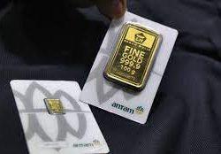 Harga Emas Antam Hari Ini Terpantau Turun Dengan Kelipatan Rp2000/gramnya